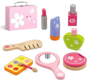 Top Race 9 Piece Beauty Set , Hand Crafted and Painted Non Toxic Wooden Pieces with Case , Kids Beauty Kit Role Play, Beauty Play set TR-W500