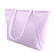 meizu88 Women Big Faux Leather Zipper Solid Colour Shopping Tote Handbag Shoulder Bag
