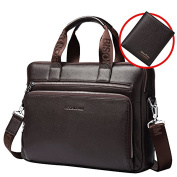 Bison Denim Mens Genuine Leather Briefcase Hand Bags Satchel