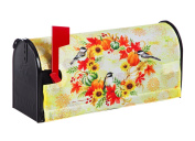 Evergreen Fall Wreath and Chickadees Nylon Magnetic Mailbox Cover for Standard Sized Mailboxes