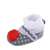 NEEDRA Newborn Toddler Baby Wave Point Big Flower Round Toe Flats Soft Slippers Shoes