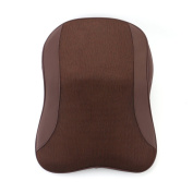 LOCEN PU Leather Memory Foam Neck Head Support Car Cushion Pillow Kit With Mesh Cover -Brown
