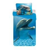 Jerry Fabrics Childrens Bedding Set with Zipper Dolphin, Cotton, Blue, Single