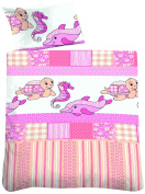 Biberna 7213/111/014, Child, Turtle and Dolphin Print, Pink and White 100% Cotton Flannelette Duvet Cover 100x135 cm and 1 Pillowcase, 40x60 cm