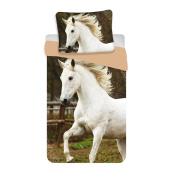 Jerry Fabrics Children's White Horse Duvet Cover and Pillow Case Bedding Comforter Set, Multi-Colour