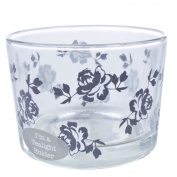 Vintage Rose Bud Tealight Holder - Glass Tea Light Holder - Candle Holder
