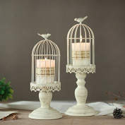 Lx.AZ.Kx Bird Cage Candlestick Rural Brush Gold Candle Holder Home Decorative Ornaments Candlestick