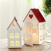 Lx.AZ.Kx Fairy Tale Love Red Roof House Ornaments Candlestick Ornaments Candle Holder Valentine Gift Home Ornaments