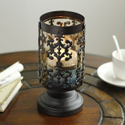 Lx.AZ.Kx Candlestick Ornaments European Iron Decorative Windproof Personality Glass Lamp Retro Candle Table