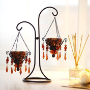 Lx.AZ.Kx European Retro Romantic Creative Iron Candle Holder Ornaments Home Candlelight Dinner Props Crystal Candle Holder Ornament Red Two