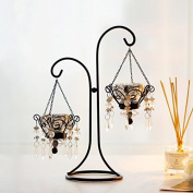 Lx.AZ.Kx European Retro Romantic Creative Iron Candle Holder Ornaments Home Candlelight Dinner Props Crystal Candle Holder Ornament Silver Two