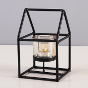 FEIFEI Candlestick Iron Art Geometry Windproof Black Romantic Household Items