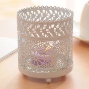 FEIFEI Candlestick Iron Art Openwork Pattern Windproof White Romantic Household Items