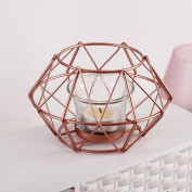 FEIFEI Candlestick Iron Art Windproof Rose Gold Romantic Household Items
