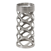 Burkina Home Decor Porta Candle Pillar Medium, Metal, Silver, 12 x 12 x 21 cm