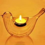 Kicode Candle Holder Candlestick Candlelight Decor Stripe Design Bird Shape Romantic Tealight Stent