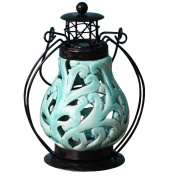 QJIAXING Hollow Ceramic Candlestick Iron Lantern Glass Creative Candle Candlestick , water