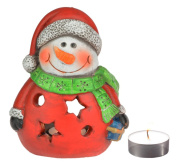 Solid Ceramic Snowman Christmas Candle Holder