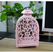 Pink hollow candlestick Christmas decorations continental iron Home garden decoration Creative crafts Hanging floor ornaments Wedding hotel decoration supplies-A 15x25cm