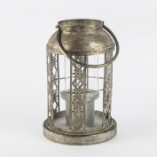 Tea Light Holder Lantern Iron Grey Flowers, 31x22 cm