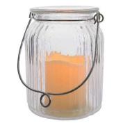Glass Jar Lantern With LED Candle (14.5cm)