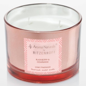 Ritzenhoff 5080004 Aroma Naturals Luxury Scented Candle in Glass – Black/Pink (11 x 11 x 8 cm