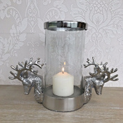 Stag Head Antler Candle Holder Glass Shabby Chic Vintage Style Home Gift