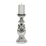 Silver Owl Design Pillar Candleholder Height; 30cm