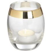 Circular Glass Tea Light Holder Brass Effect Wedding Candle Holder
