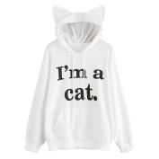 Women Cute Hoodie Jumper Sweatshirt Mingfa Long Sleeve Cat Ear I Am a Cat Hooded Pullover Tops Blouse