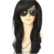 MZP MelodySusie Curly Heat Resistant Wig Women Long Wave Wig with Free Wig Cap , black