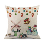TAOtTAO Merry Christmas Pillow Cases Cotton Linen Sofa Cushion Cover Home Decor