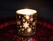 Gold Snowflake-Glass-Tea Light-Candle-Holder-7-3x8cm-Christmas-Table-Decor-Event