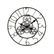 American Style Retro Gear Wall Clock Loft Industrial Wind Hollow Retro Wall-mounted Clock Living Room Bar Cafe Interior Arabic Numerals Decorative Clock - Diameter 47cm