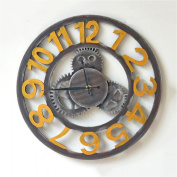 Retro Industrial Wind Wall Clock 3D Gear Decoration Round Hollow Clock Living Room Bedroom American Style Creative Roman Numerals Wall-mounted Clock - 40cm