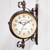 Classical European Retro Living Room Wall Clock Fashion Pastoral Wall-mounted Clock Creative Double-sided Round Clock