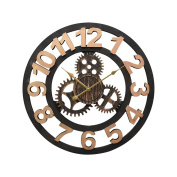 Creative American Style Wall Clock 3D Gear Decoration Round Hollow Clock Living Room Bedroom Retro Industrial Wind Roman Numerals Wall-mounted Clock - 50cm