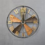 Fan Mute Wall Clock Creative Retro American Style Nostalgic 3D Iron Craft Wall-mounted Clock Fashion Decorative Clock Kitchen Living Room Office Hotel - Diameter 63cm