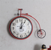 Vintage Mute Wall Clock Creative Personality Nostalgic Design Arabic Numerals Display European Bicycle Decorative Wall Clock Kitchen Living Room Office Hotel