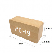 Wooden alarm clock,Electronic alarm clock, Digital wakeup clock,Portable adjustable brightness usb battery powdered display time temperature date desk alarm clock for room office kids -yellow
