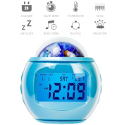 Projection alarm clock,Digital alarm clock,Alarm clock projection on ceiling,Music atomic clock galaxy star projector back light gift for children kids-blue