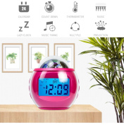 Projection alarm clock,Digital alarm clock,Alarm clock projection on ceiling,Music atomic clock galaxy star projector back light gift for children kids-red
