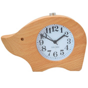 Millya Students Bedside Electronic Clock Cartoon Wooden Silent Alarm Clock Non Ticking Travel Alarm Clock