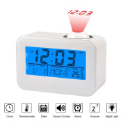 Projection Clocks LCD Display Alarm Clock With Temperature Date Calendar Snooze Voice Control Ceiling Projection Digital Clock