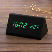 Alarm Clocks Wooden Digital LED Alarm Clock Sound Control Desktop Clocks with Temperature Electronic Display Home Decor battery(not included) , 2