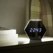 OUMAIG Mirror Alarm Clock, Night Light, Digital Pupils, Creative Bedroom, Multi Function Charging,Silvery