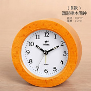 OUMAIG Clock, Originality, Fashion, Solid Wood Alarm Clock, Simple Electronic Clock, Bedside Alarm Clock, Mute Night Light,B