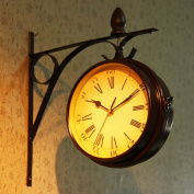 European Retro Home Wall Clock Fashion Pastoral Double-Sided Decorative Wall Clock,Yellow