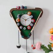 Home Personality Creative Paragraph Triangular Billiard Wall Clock,Green
