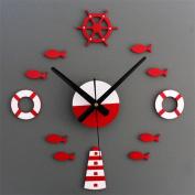 Mediterranean-Style Clock Face Round Mute Decorative Wall Clock,B